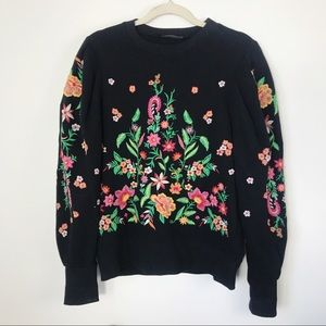 Zara | Black Embroidered Floral Sweatshirt | S